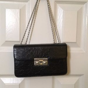 Handbags - Black crocodile print purse with snap closure
